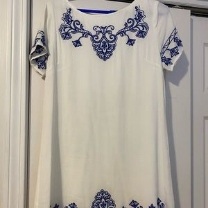 Lulu's Tale to Tell Blue and Ivory Shift Dress